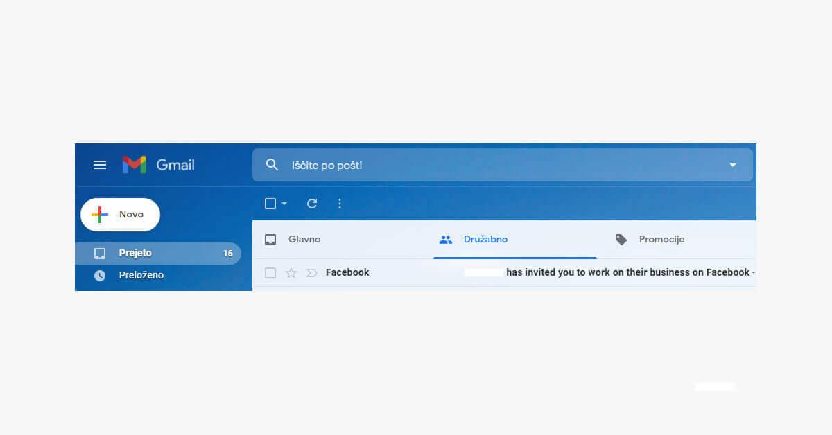 Kako sprejeti povabilo v Facebook poslovni račun?