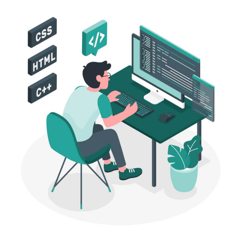 Programer programira spletne strani